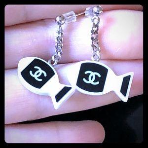 Chanel reversible fishy earrings